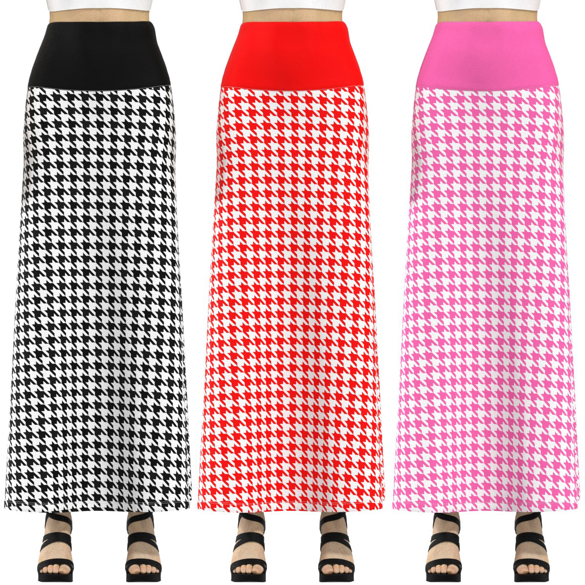 67170c1022a Details about EightyThreeXYZ Black Red Pink White Houndstooth Long Maxi  Skirt Size XS-3XL Plus