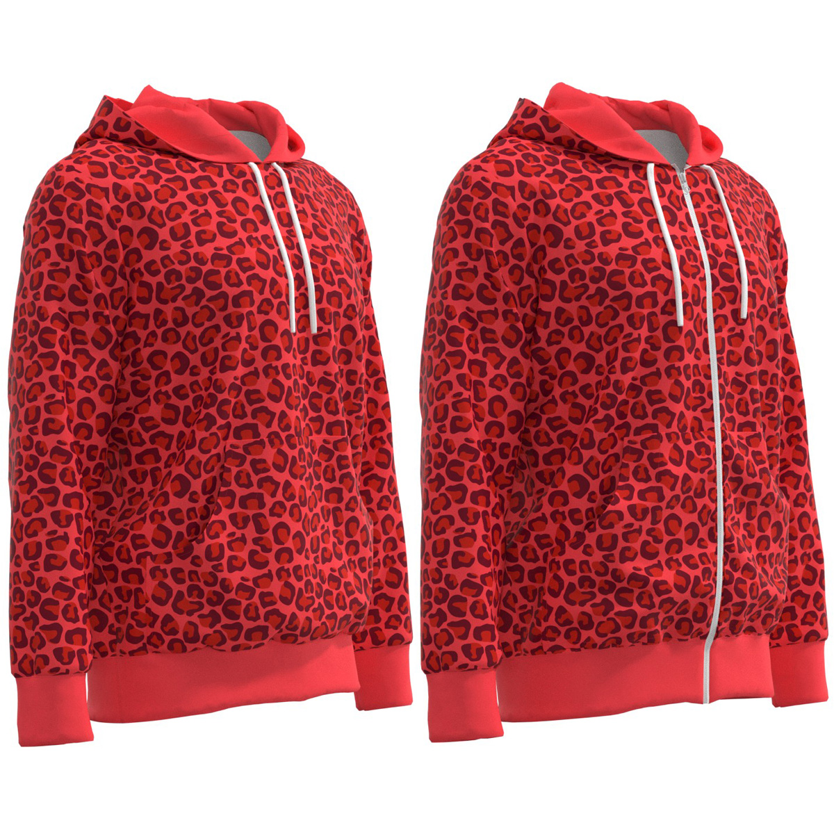 Bright Leopard Print Women Zip Up Hoodie xs-3xl