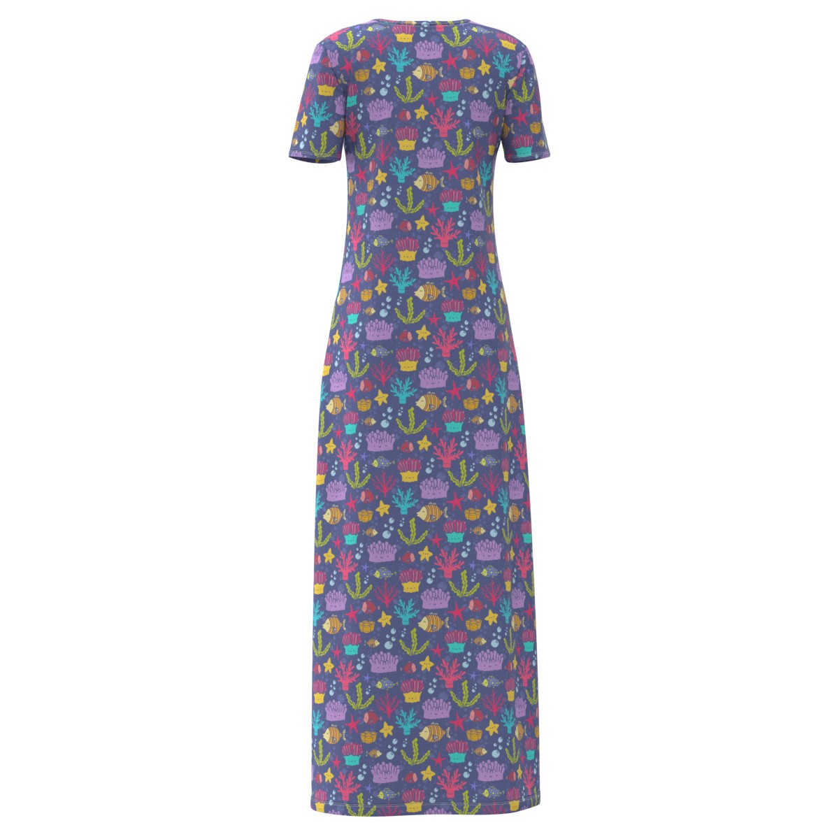 Coral Reefs Fishes Women Women Women Short Sleeve & Sleeveless Maxi Dress Size XS-5XL Plus 8680aa