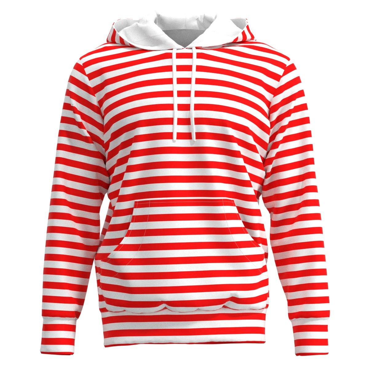 Red   White Horizontal Stripes Men Women Hoodie Sweatshirt Sweater Size  XS-3XL 0ed7b6685