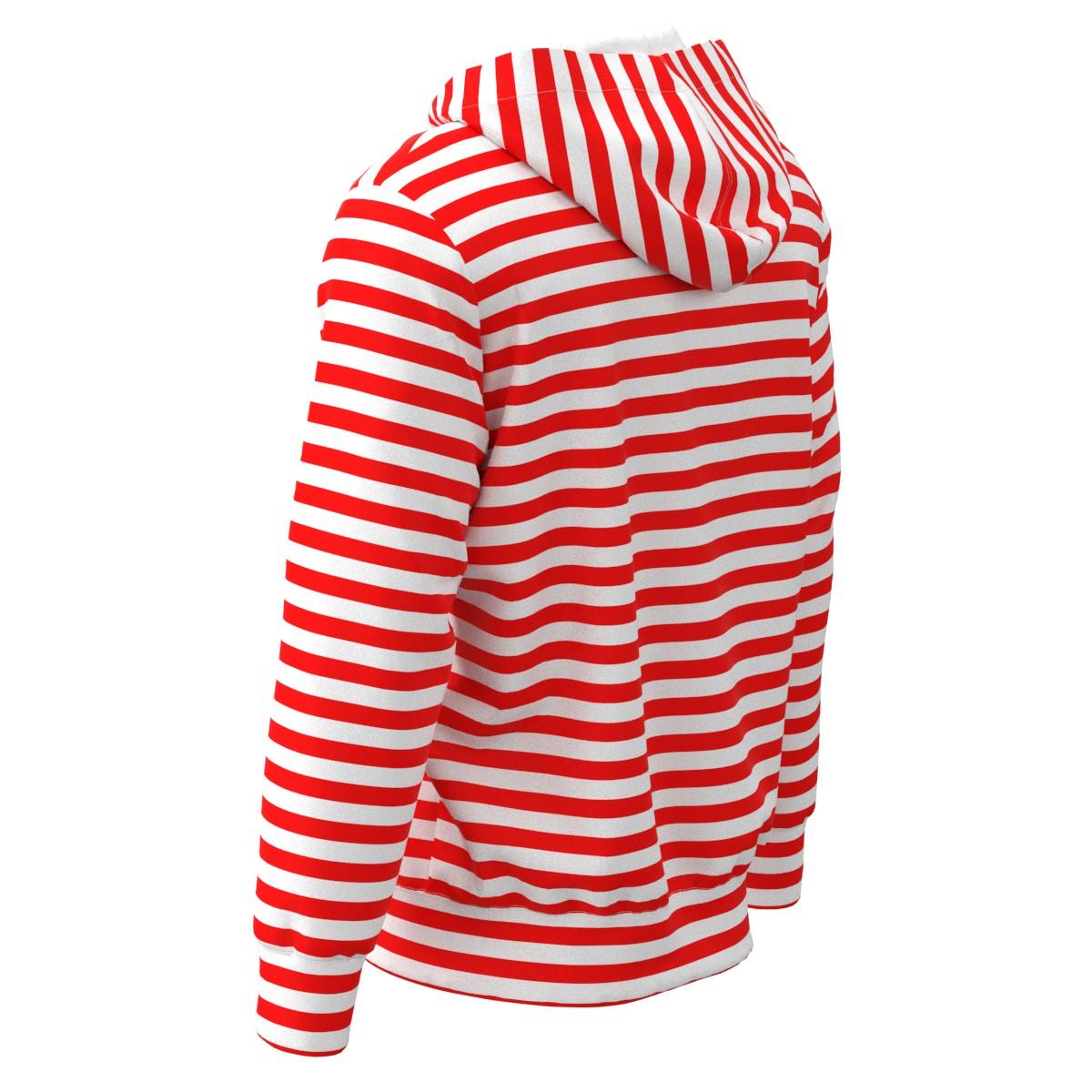 Red   White Horizontal Stripes Men Women Hoodie Sweatshirt Sweater ... 198304ea7