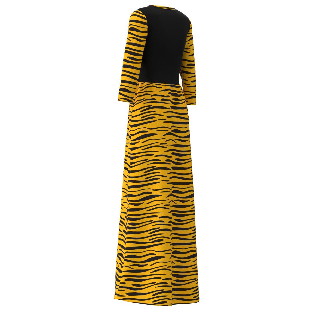 f457d966bfa15 Details about Tiger Stripes Animal Print Quarter Sleeve Long Maxi Dress  Size XS-3XL Plus